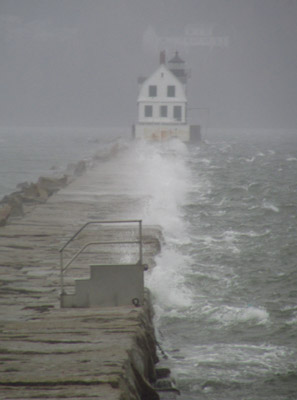 rockland breakwater with storm waves