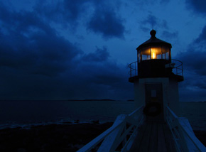 Marshall Point Lighthouse at dusk
