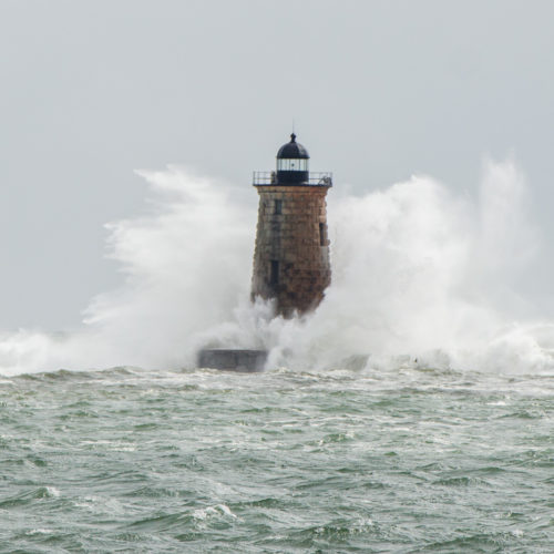 Waves crashing against Whaleback Lighthouse on Saturday afternoon.