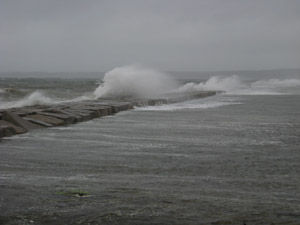 Rockland Breakwater during Patriots Day Gale