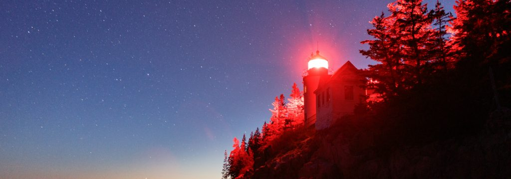 Bass Harbor Head Lighthouse under a blanket of stars