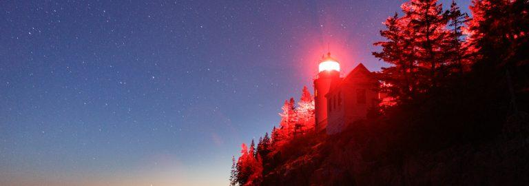 Bass Harbor Head Lighthouse under a blanket of stars