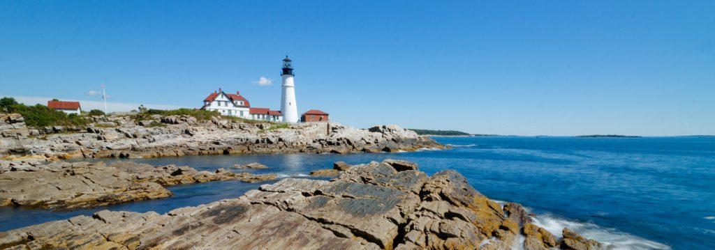 Portland Head Lighthouse stands guard over the rocky coastline