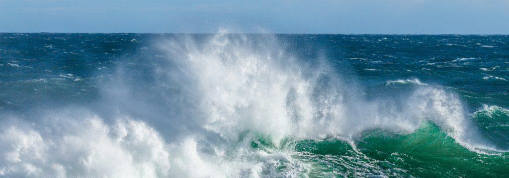 Waves crashing toward the shore