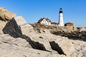 A rock formation in front of Portland Head Lighthouse