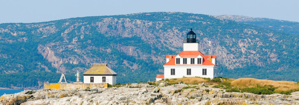 Champlain Mountain rises beautifully behind Egg Rock Lighthouse