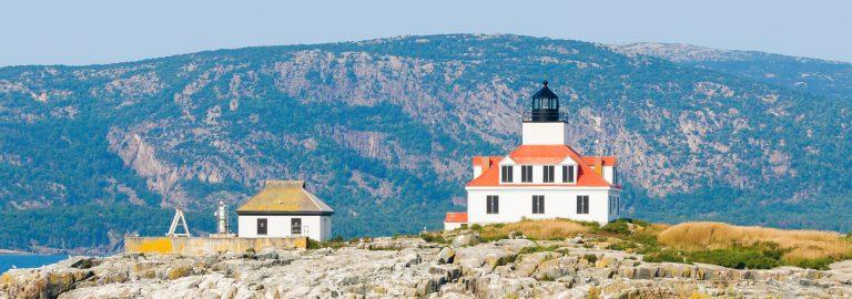 Champlain Mountain rises beautifully behind Egg Rock Lighthouse